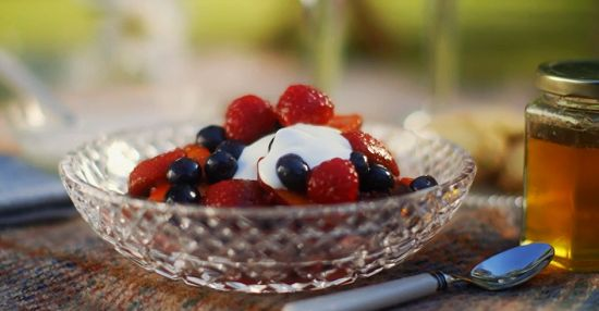 Mary Berry rosy red fruit compote with raspberries, yoghurt and honey