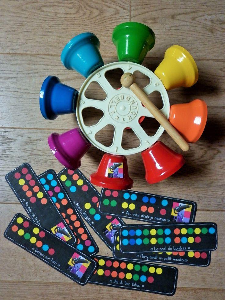 Tourniquet de cloches musicales et partitions avec couleurs...
