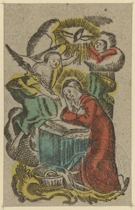 Zvěstování ~ Annunciation; Zvěstování  Panny Marie, archanděl Gabriel  -  Ecce Ancilla Domini fiat, svaté obrázky, konec 18. století, kolorovaný lept, uloženo v Knihovně Národního muzea