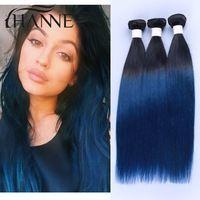 Short Ombre Hair Indian virgin hair straight 1b#blue ombre color 3 bundles Indian straight hair cheap human hair extension