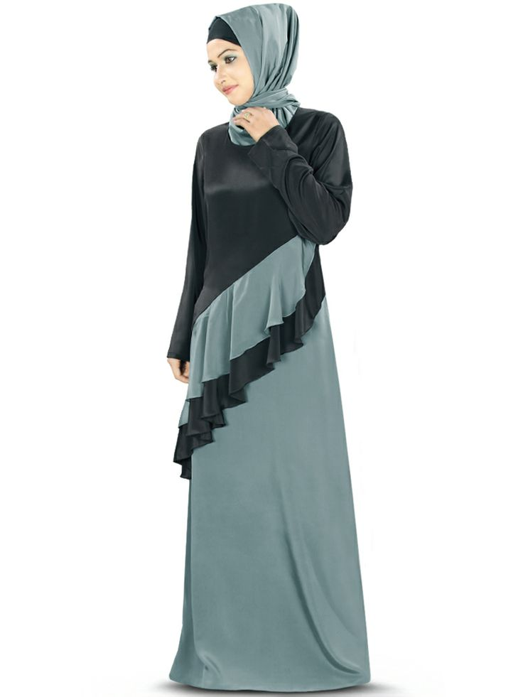 Pretty Islamic Abaya with this all time favourite flowy frill pattern, the dress is best suited for any kind of occasion. Designer Abaya with round neckline Diagonal two color frills attached in front Utility pockets on both sides Straight sleeves