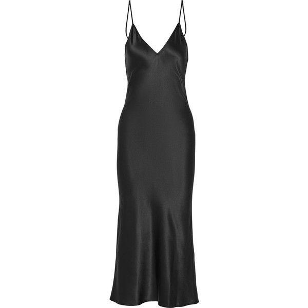 Protagonist Silk-satin midi dress found on Polyvore featuring dresses, black, calf length dresses, slip dress, mid calf dresses, midi slip dress and silk satin dress