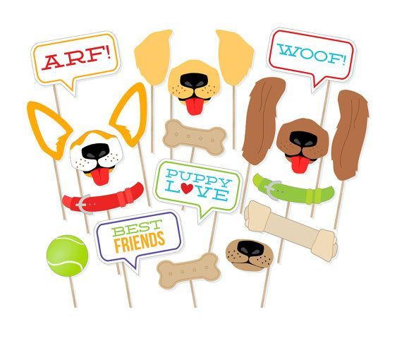 Party Games - Stationery - Decorations - Printable Puppy Dog Photo Props  Dog Photo by PrintablePropShop
