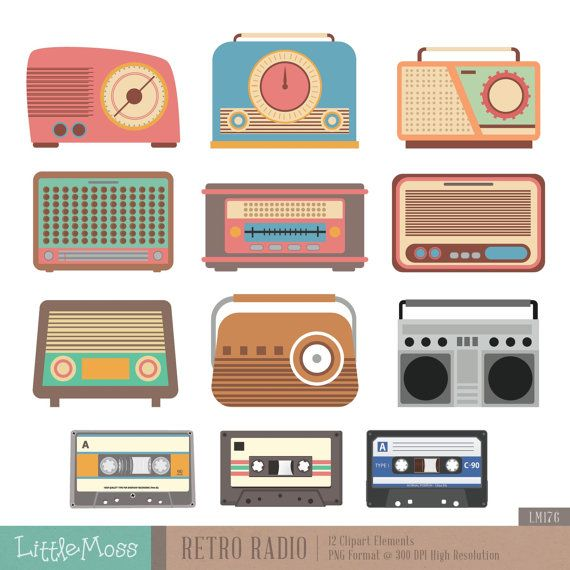 Retro Radio Digital Clipart by LittleMoss on Etsy