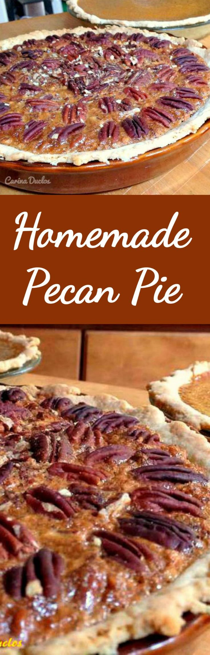 Homemade Pecan Pie. A delicious pie all made from scratch and super easy too! #Thanksgiving Dessert #pecanpie