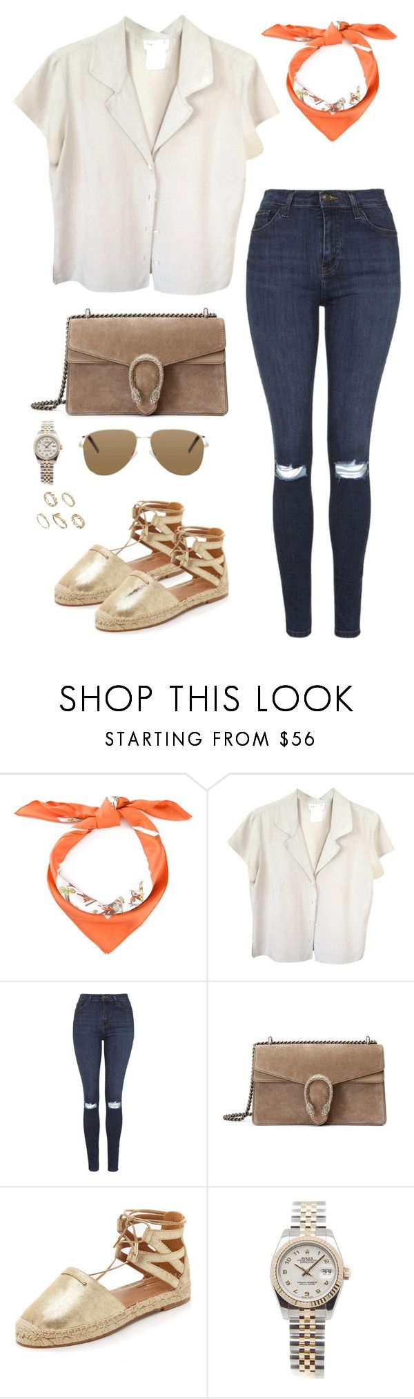 """Untitled #2234"" by andreagm ❤ liked on Polyvore featuring Hermès, agnès b., Topshop, Gucci, Aquazzura, Yves Saint Laurent, Rolex and ASOS"
