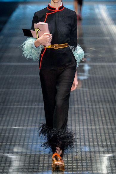 Prada - Feather-trimmed Silk-chiffon Blouse - Black - IT42