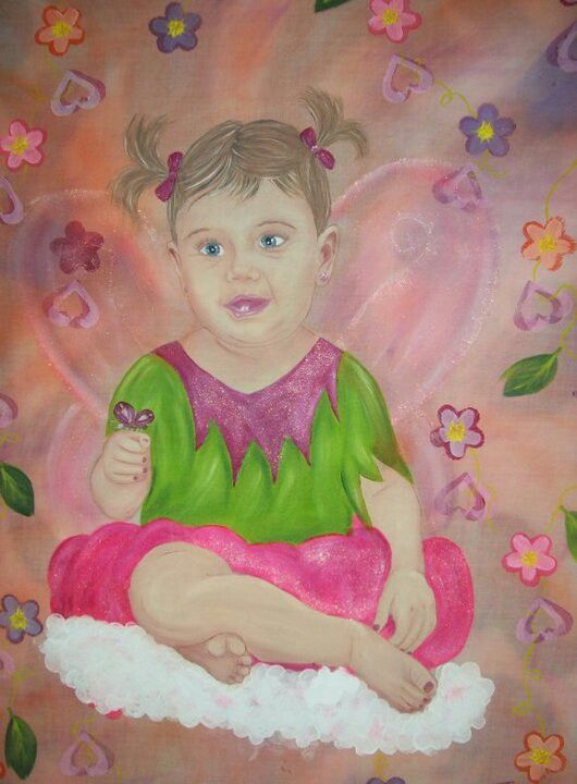 Full - fabric painted portrait for a friend of her 1 year old
