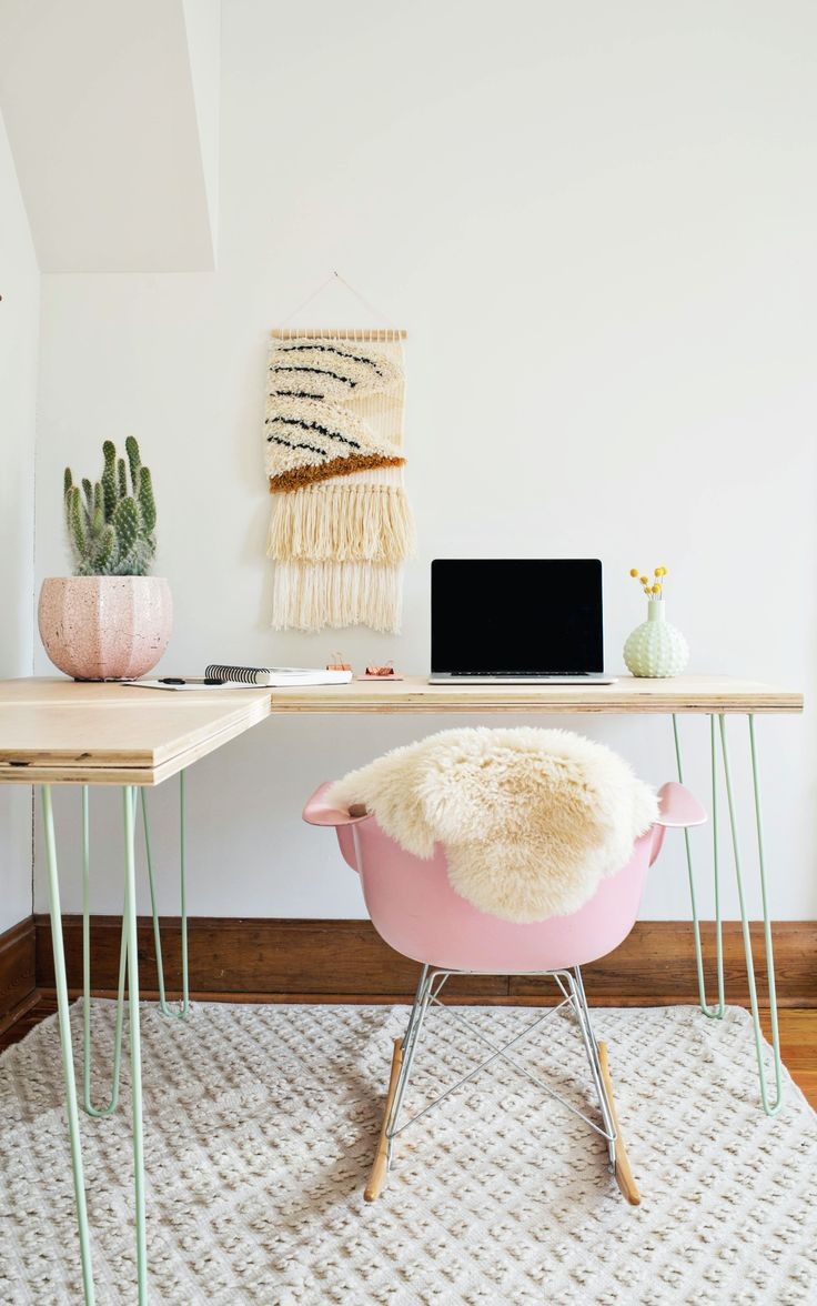 [ minimal meets feminine in this simple home office space ]