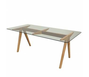 """Mesa """"Cargo"""" 190 x 90 x 74 cms. de alto. Vidrio templado 10 mm de espesor, base madera de roble en color natural"""