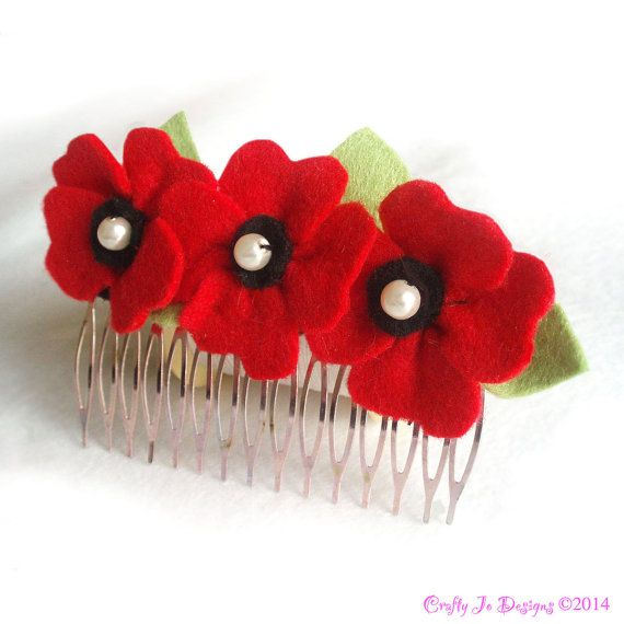 Hair Comb Poppies and Pearls Red Felt Flower by CraftyJoDesigns