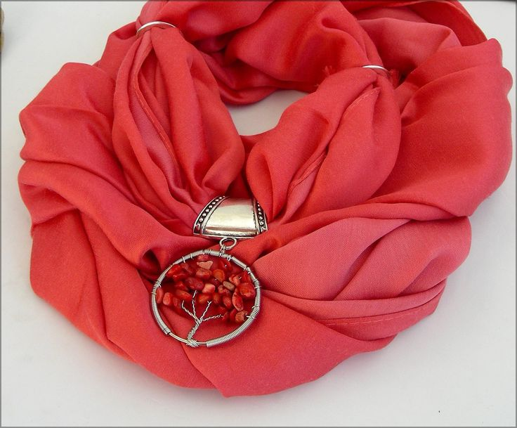 Bijou de Foulard - Bélière / Passe-Foulard Arbre Corail - Écharpe Soie Rouge Corail : Echarpe, foulard, cravate par ladyplazza