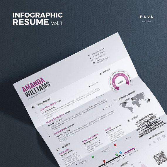 #Infographic #Resume Vol.1 | #Word #Indesign and #Photoshop #Template | #Professional and Creative #Cv Resume Design #TheResumeCreator