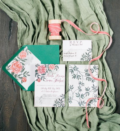 Peony invitation suite with green watercolour background by Lilly Cinnamon Wedding Stationery