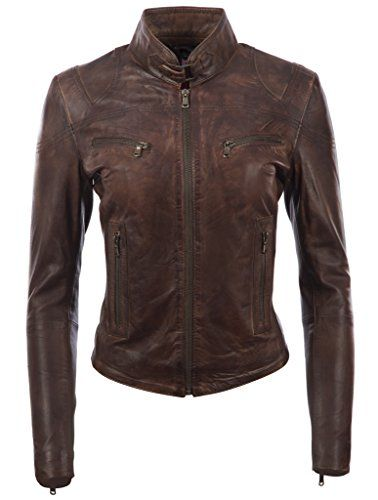 Womens Leather Jacket Bomber Motorcycle Biker Real Lambskin Leather Jacket for Womens Collection-11 2