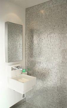 Metallic Tile Has Been Por Lately Designtrend Bathroom