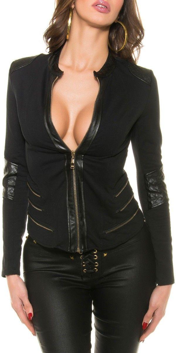 Dámský kabátek s koženkou, Velikost 40/L, Barva černá Dámský kabátek v černé barvě. Kabátek má koženkové detaily, jako lemování kolem zipu, záplaty na loktech a ramenou. Kabátek je bez límečku s mírným stojáčkem. Kabátek je …