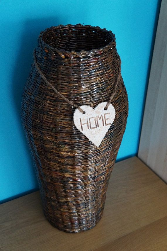 Paper basket vase HOME by FancyBaskets on Etsy