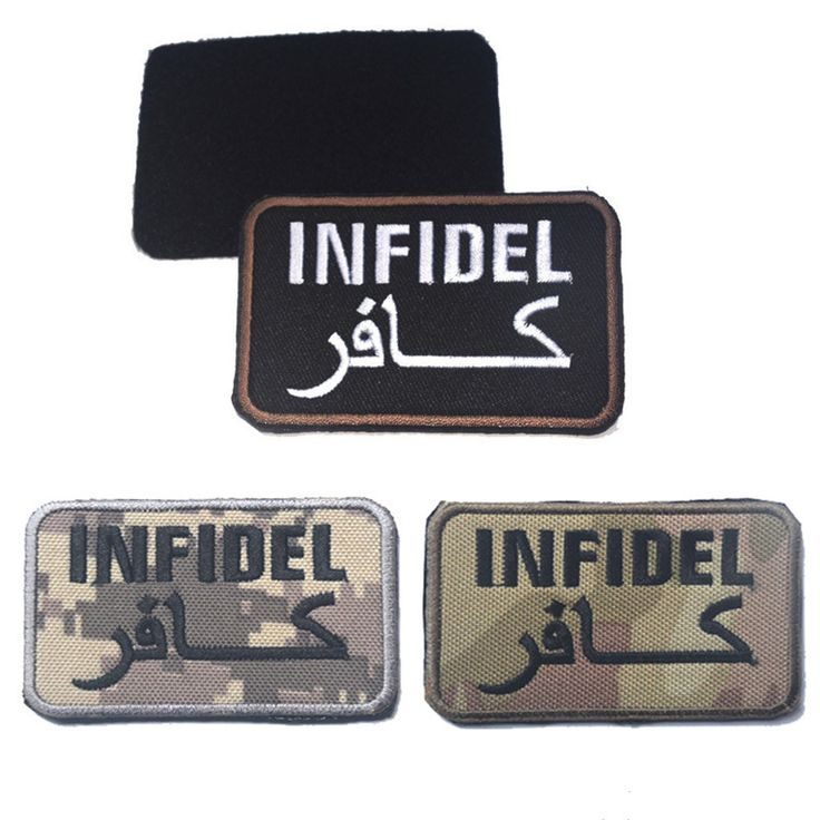 Infidel pagan embroidery the tactical military patches badges for clothes clothing HOOK/LOOP 8*4CM