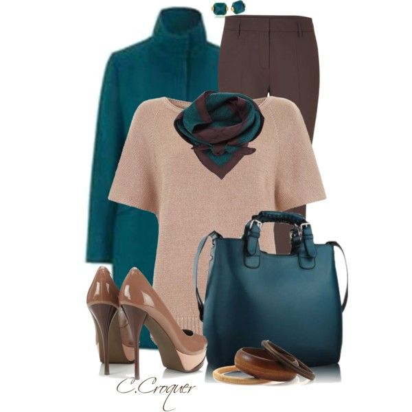"""""""Teal&Brown Trenc Coat Outfit"""" by ccroquer on Polyvore"""