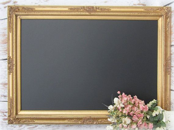 "Large GOLD Framed CHALKBOARD For Sale Dining Room Decor Furniture X- LaRGE Huge Magnetic Chalkboard 44""x32"" Wedding Signs Gold Menu Board"
