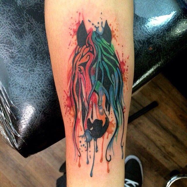 Watercolor horse tattoo | Watercolor horse, Watercolor ...
