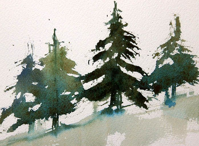 Easy Trees how to paint fir trees