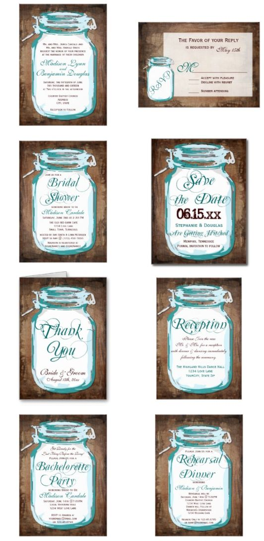 Teal Turquoise and Brown Rustic Mason Jar Wedding Invitation Set