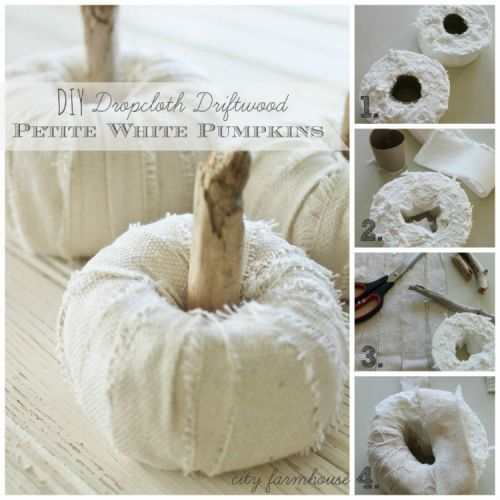 DIY Dropcloth Driftwood Petite White Pumpkins