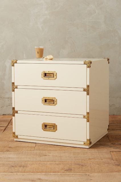 Lacquered Wellington Three Drawer Dresser. Campaign DresserCampaign  FurnitureBedroom ...