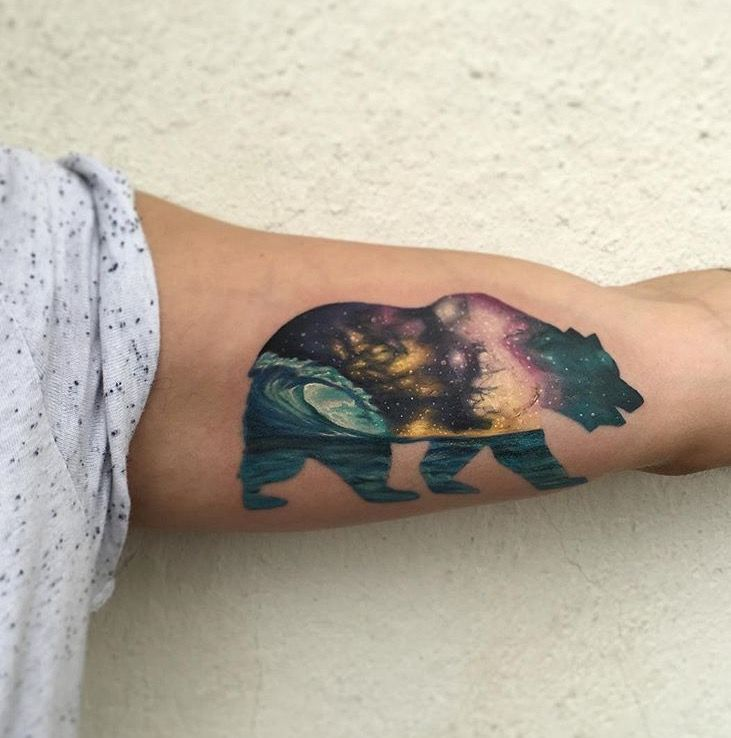California Republic Tattoo - bear tattoo