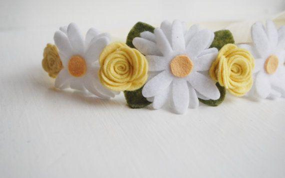 Felt Flower Crown Hair Wreath Headband Garland by PosiesandPetals