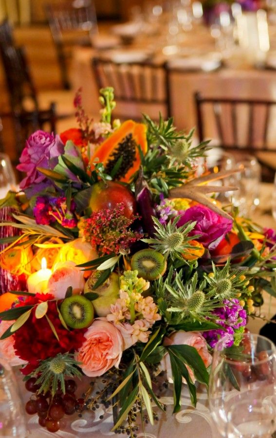 Fruit wedding centerpiece thistles cabbages and