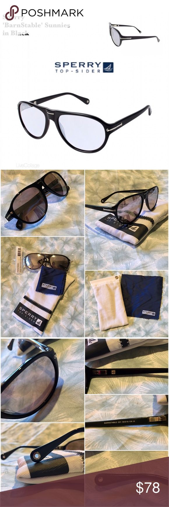 ✨New Black 'BarnStable' Sunglasses from Sperry✨ All around cool yet casual sunnies! Brand new, tags on bag as shown in photo 2. I've seen these described as unisex & women's but since I bought them for me I'm listing as women's. Black w/ silver hardware, inc. signature Sperry grommets. Acetate frame w/ rims on all sides of lenses. Lenses are light grey w/ UV protection. Msmt per inside left arm: 56-16-138. Many logos as shown in photos & light grip pads for behind ears to help keep in place…