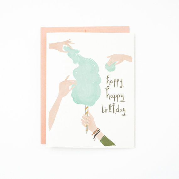 Cotton Candy Birthday Card 1pc by QuillandFox on Etsy, $4.50