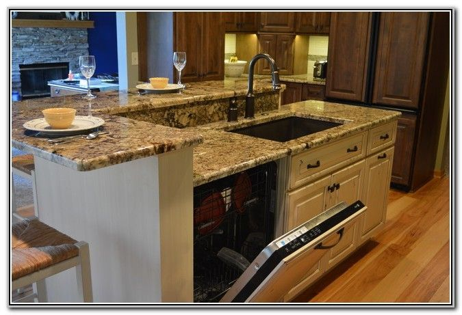 kitchen island with sink and dishwasher and seating - Google Search