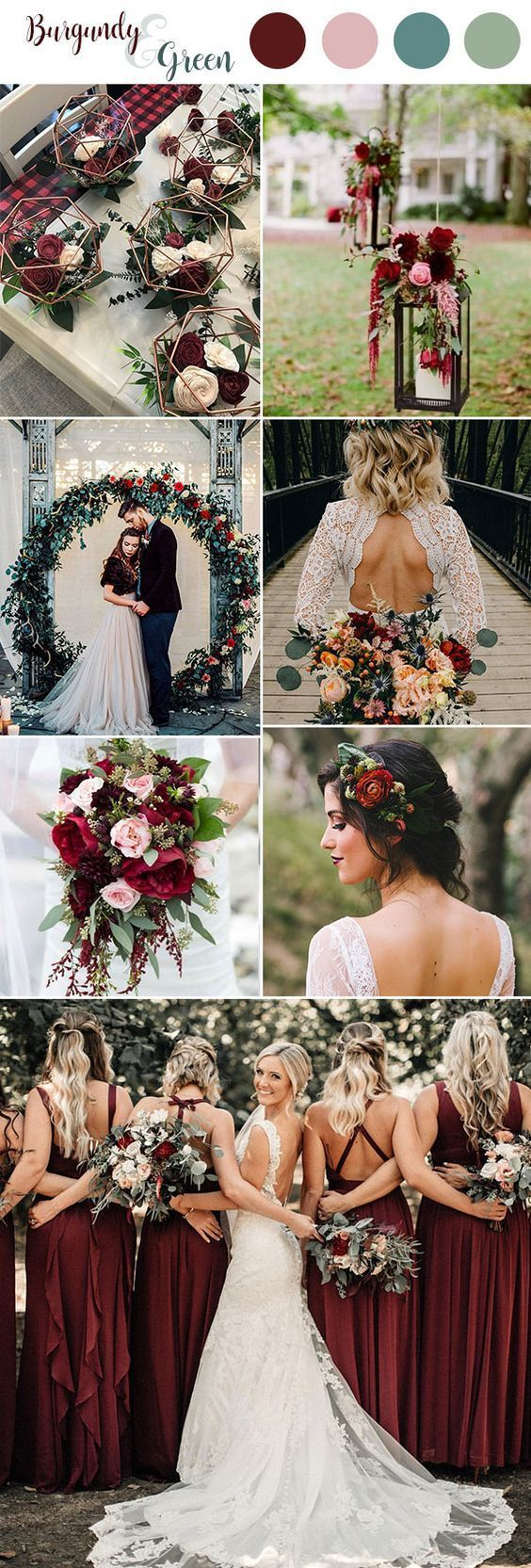 100+ Marsala/burgundy color combos for 2019 fall weddings— wedding bouquets, w