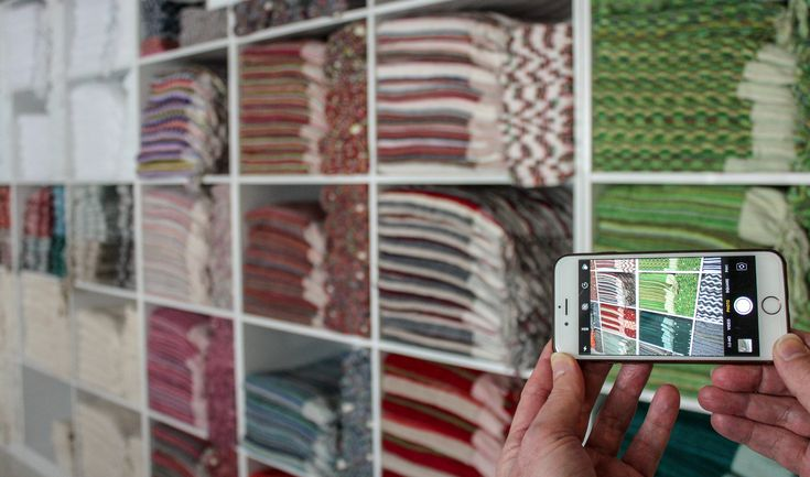"""Everything we sell is limited edition, so catalogs are impractical. If you can't visit our store, take a """"virtual shopping tour"""". E-mail us for an appointment to explore our current inventory via free video/calling apps #WhatsApp or #Facetime. We can show you anything on the shelves, or focus on your natural fibre and colour preferences. Sit comfortably at home and let our sales staff help you browse. #jennifershamam #textiles #handloom #weaving #shopping #limitededition #Istanbul #Turkey"""