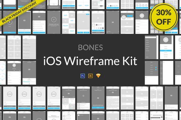 Bones IOS Wireframe Kit by Web Donut on @creativemarket