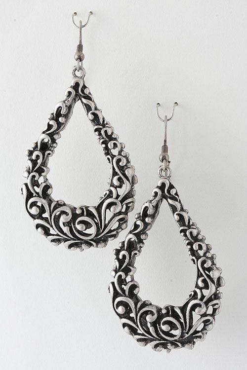 Antique Silver Filigree Earrings