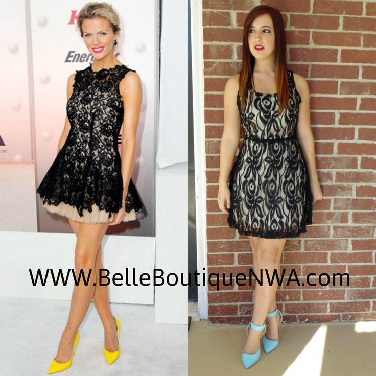 Brooklyn Decker look for less! Lace dress $45 blue pumps $35 @Belle Boutique NWA