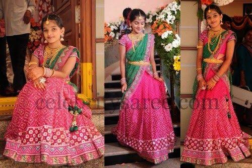 Cute Girl Bandhini Half Sari | Saree Blouse Patterns