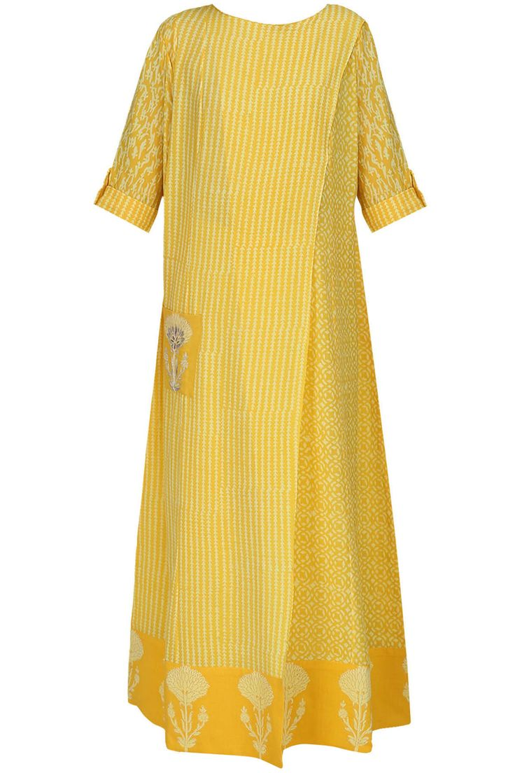 ANITA DONGRE Mustard yellow block printed long tunic available only at Pernia's Pop Up Shop.