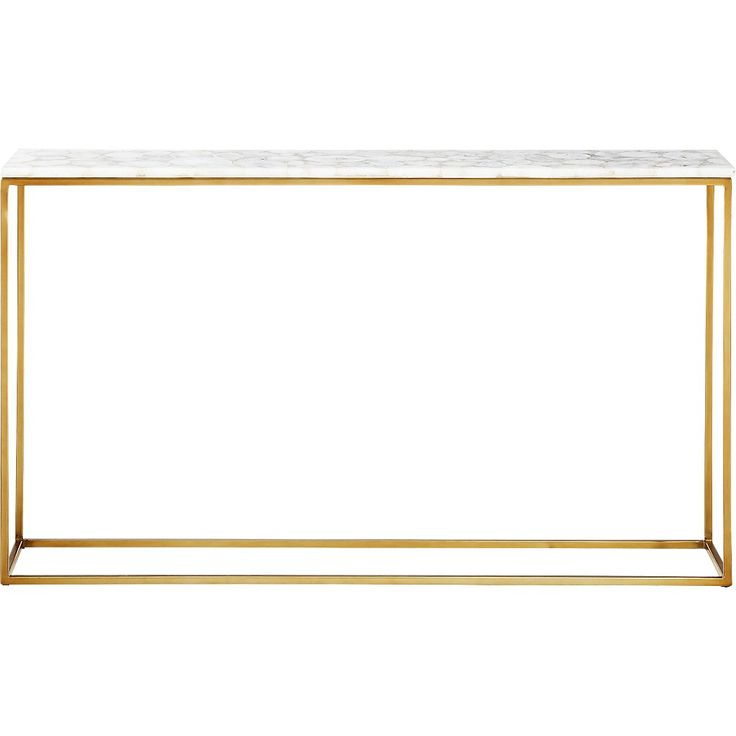 Shop Iris White Agate Console Table. Thin, antique brass base defines the clean and simple silhouette of our white agate console table. Cool rectangular top spotlights large white agate pieces, each different in shape/size/tone.