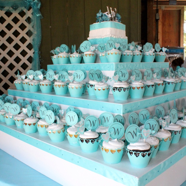 Wedding Cupcake Stand Ideas: Homemade Cupcake Stand With Wrappers And Picks Made From