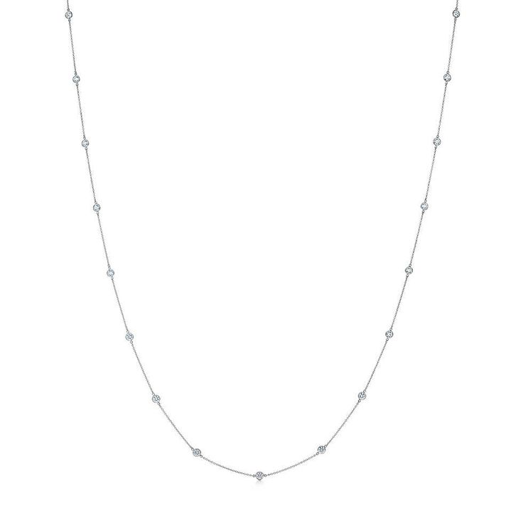 Elsa Peretti® Diamonds by the Yard® necklace in platinum with diamonds. | Tiffany & Co.