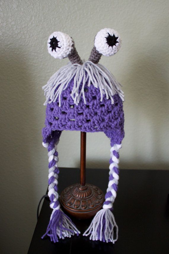 Crochet Baby Toddler Monsters Inc Boo Disguise hat with earflaps and tie strings 0-12 months