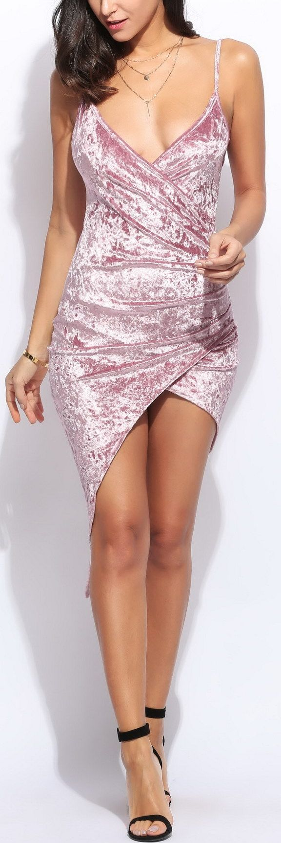 Straight to Voicemail High-Low Velvet Dress - Light Pink
