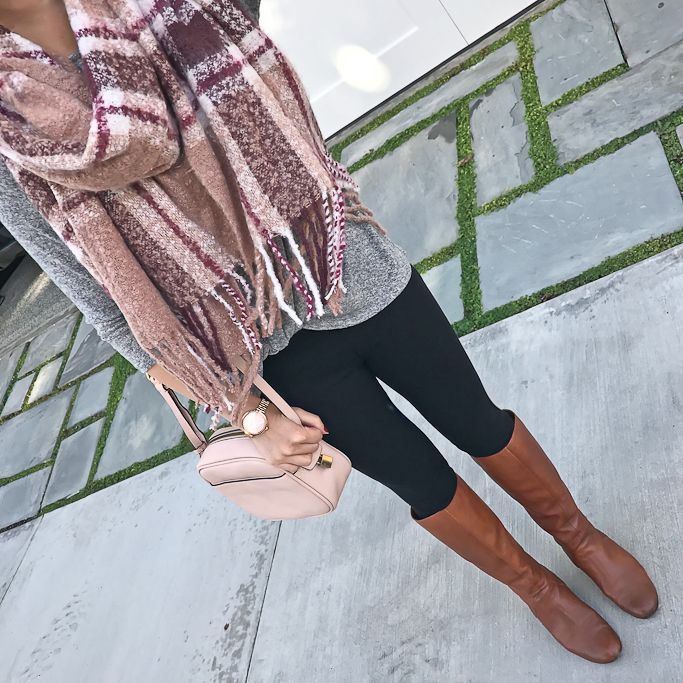 plaid scarf, black leggings, cognac boots, blush crossbody