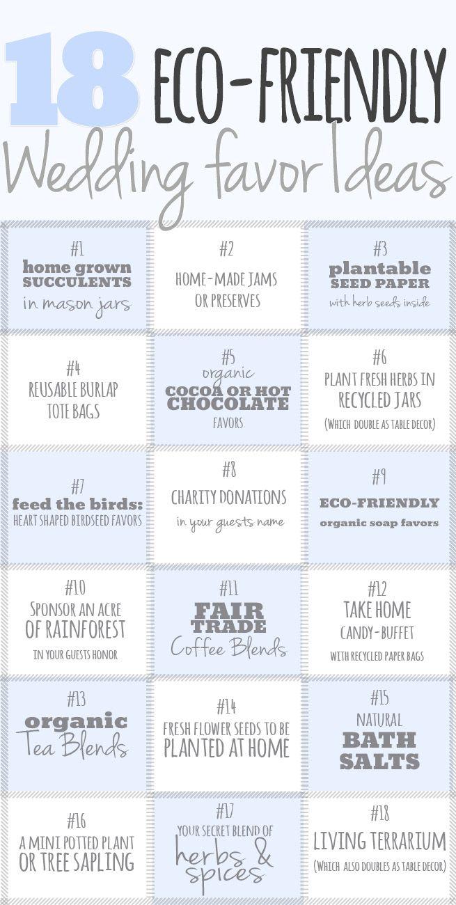18 Eco Friendly Wedding Favor Ideas. Are you considering eco-friendly wedding favors for your special day? http://www.confettidaydreams.com/eco-friendly-wedding-favor-ideas/
